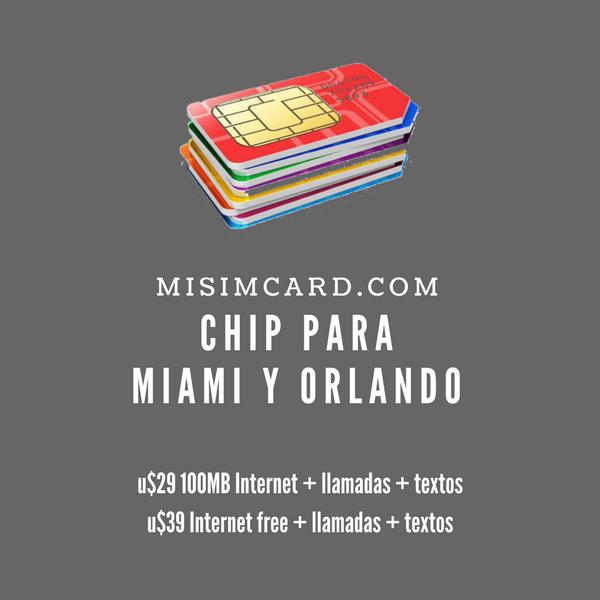 Chip Miami Orlando Internet y llamadas prepago