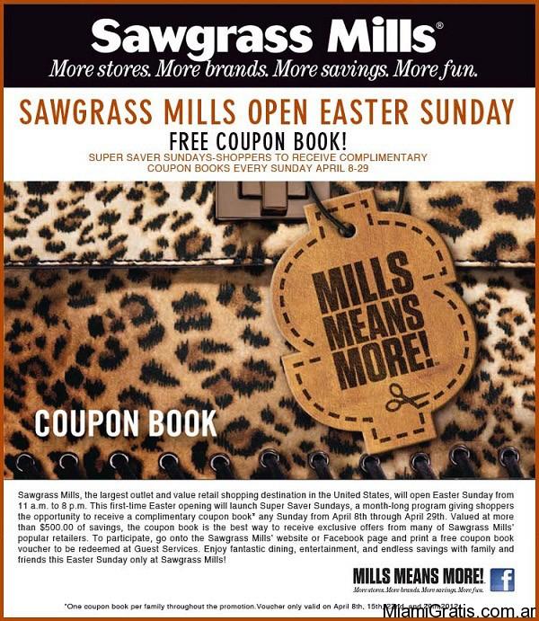 El Sawgrass tiene una particularidad y es que tiene su propia CUPONERA DE DESCUENTOS! Esta cuponera se puede obtener en el centro de atención al cliente localizado dentro del mall y el costo es de .