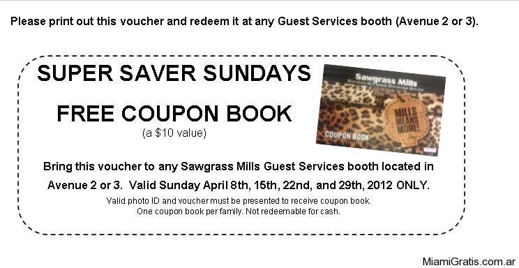 Cuponera Gratis Sawgrass
