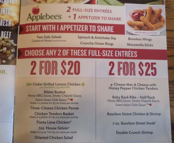 Applebees menu combos lunch