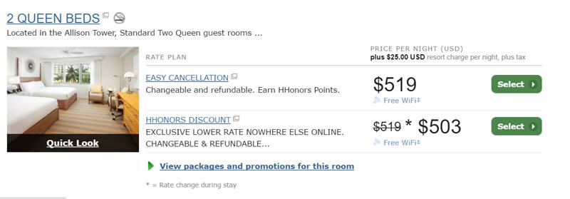 Precios del Hilton Cabana